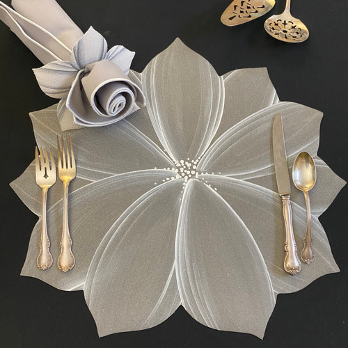 Sterling Silver/White Placemat. To add Rose Bloom Napkin in grey/white, go to Napkins!