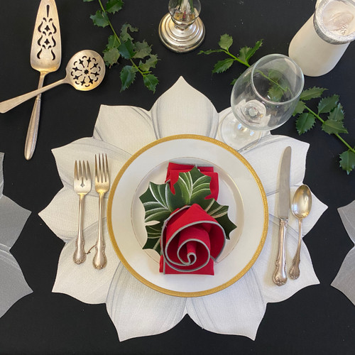 White/Silver Poinsettia Place-Setting