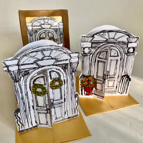 "Set of 6 hand-cut cards come in a windowed recyled paper box! 3 Holiday ""OPEN to Joy"" aDOORable Cards & 3 BLANK Abundant aDOORables(tm) Cards. Made in Kingston, New York, USA."