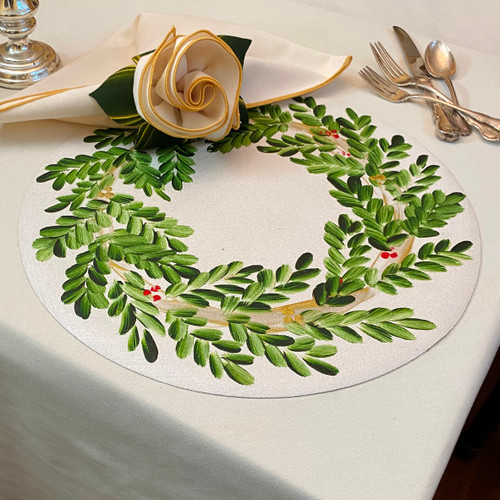 This placemat and napkin/ring set looks especially grand on a matching ivory tablecloth, click here for tablecloths: https://www.caroleshiber.com/custom-tablecloths-napkins/