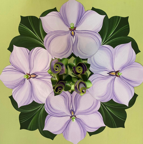 Set of 4 Orchids in lilac, with 4 napkins and rings, as shown. For Leafy Greens, order 4 Interlocking Leaves in Pine/Frost: https://www.caroleshiber.com/7-point-leaf-pine-frost/
