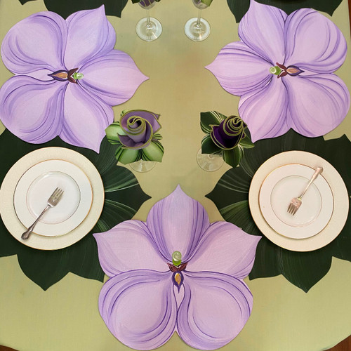 Set of 6 Placemats: 3 Purple Orchids & 3 Pine/Frost Leaves, all hand-painted in Kingston, NY; simply sponge clean!