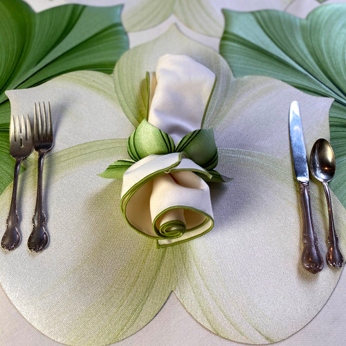 Setting includes placemat, napkin and ring. (Surrounded by mint/pine leaf placemats, not included, but good to consider!)