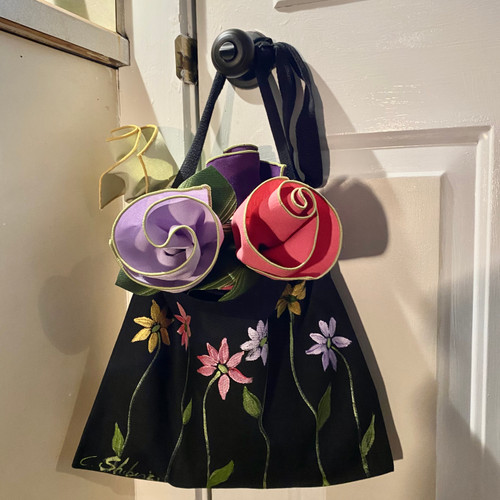 Cotton canvas tote bag in black hand-painted with wild flowers, with beautiful napkin bouquet of 4 to set the table with when you need the bag for errands.