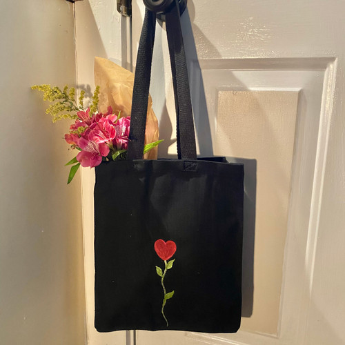 "Sweet Heart Tote 12 x 8""W, hand-painted on black cotton canvas."