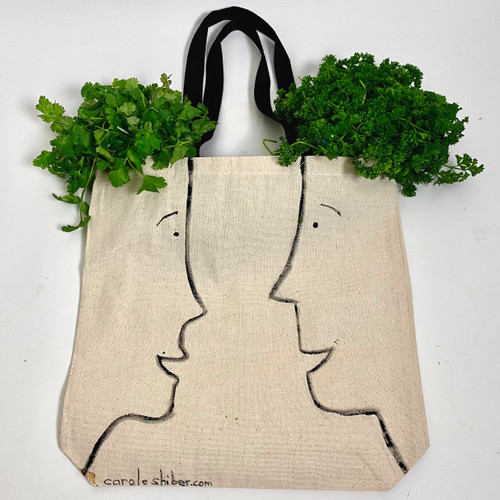 "Cotton canvas 14x14x3"" tote; 10"" H handles; hand-painted and signed. Greens not included; but recommended!"