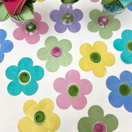 Order 2 sets of 6 for a baker's dozen (13 Assorted Flower Power Coasters), each one hand-painted in Kingston, NY. So much fun...so much