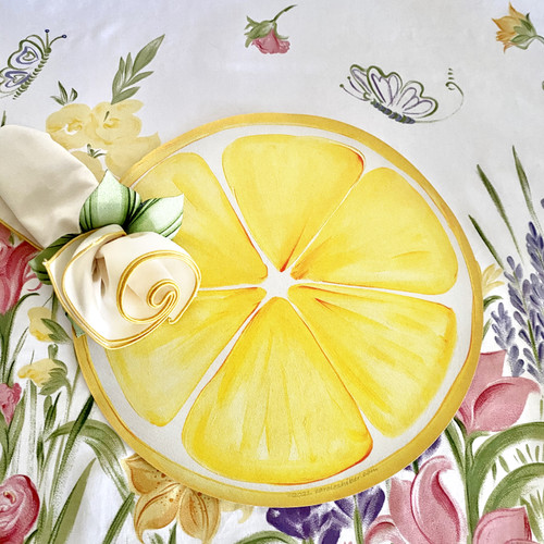 """15"""" Lemon Slice Placemat! To add easy-care ivory/yellow gold trimmed napkin and hand-painted leafy ring as shown, click on that option to the right."""