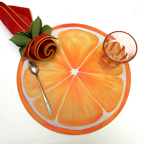 "ARTPrints(tm) 15"" tangy Orange Slice Placemat makes a great placemat or centerpiece. To add the burnt orange/gold napkin and green leafy napkin ring shown here, click on the add-on Option, shown right."
