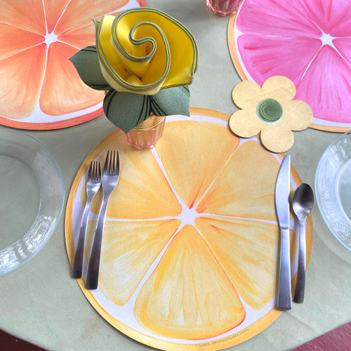 Includes Lemon Placemat, Napkin and hand-painted Napkin Ring & Flower Power Coaster.