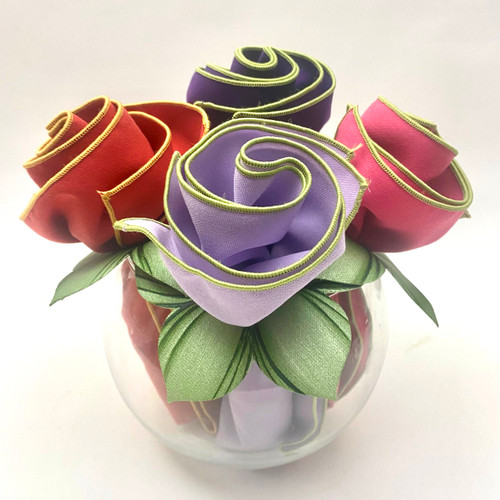 Botanic-trimmed Purple, Orange, Hot Pink & Lilac Napkins swirled with hand-painted Mint Napkin Rings, come rolled up and ready to wow.  Sets of 6, 8 & 12 also have Light Pink/Honeydew and Honeydew/gold in the arrangement.