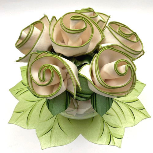 """6 rolled up napkins into 6 napkin rings to set upon one 18"""" W x17 1/2""""  placemat/centerpiece.,(vase or wide fish bowl suggested as shown, but not included)."""