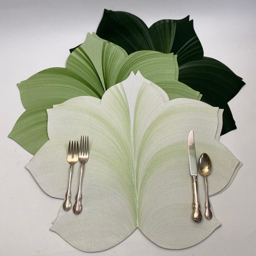 Our Leafy Green Ingredients: 2 White/Mint (NEW!!!), 2 Mint/Pine and 2 Pine/Frost Leaf Placemats set the table for 6, or 4 with a centerpiece!..or set for 2 people leaving 4 for a long runner!