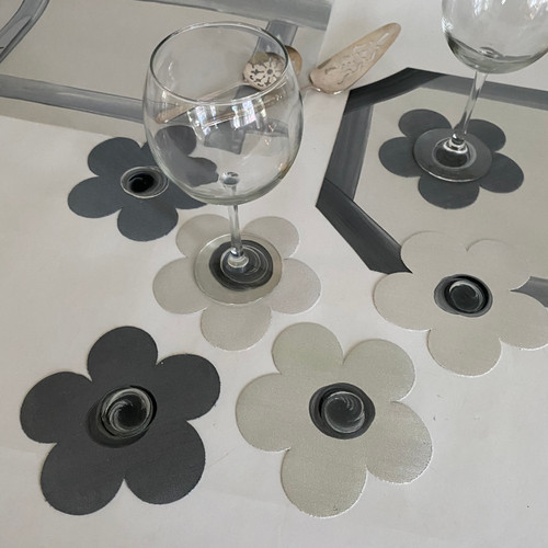 6 assorted white & gray, gray & white hand-painted coasters.