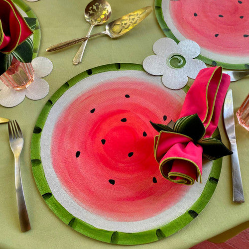 Watermelon Complete Place-Setting with Flower Power Coaster