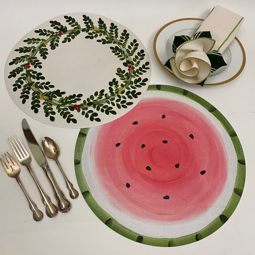 """2 - 15"""" Round Placemats will entertains you in the Summer to the Winter. Add the Napkin and Rings shown, as it goes beautifully with both designs."""