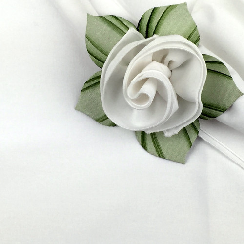 White with White Trimmed Napkin and Suggested Mint Pine Ring