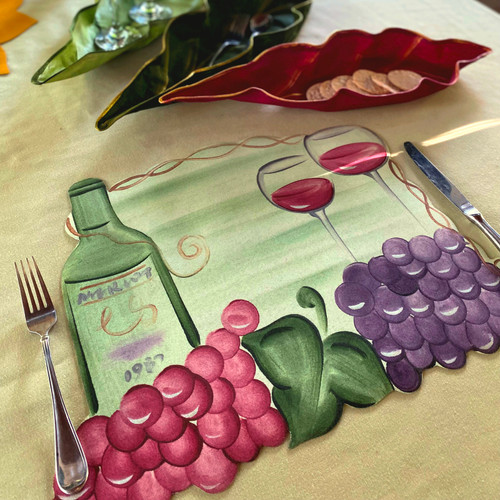 """Each Vinyard Placemat as purchased here is 16-20""""W x 14""""H, (wider at the bottom with the grapes spilling left and right!); to add  napkin and ring  in purple/honeydew as shown on thumbnail photo below, click on the Napkin and Ring Option."""