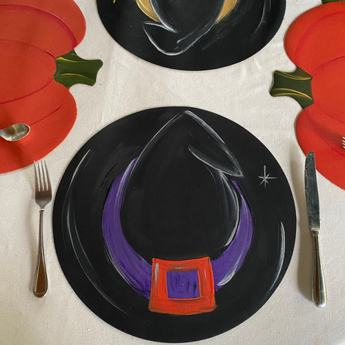 Hand-Painted Witch's Hat Placemat with purple and orange. Made in USA.