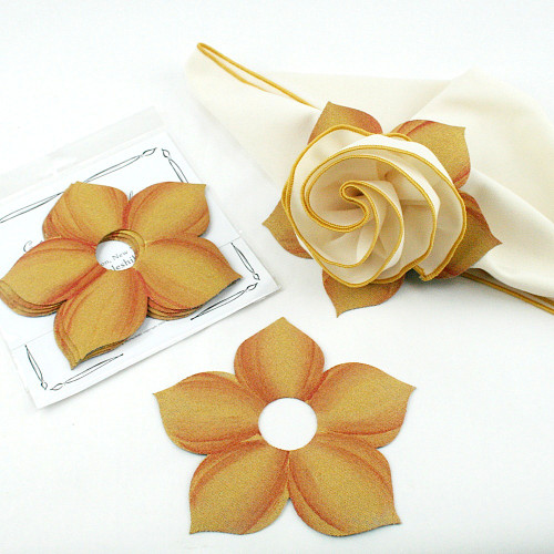 Bouquet Napkin Ring - Gold with Copper Highlights with suggested Ivory with Gold Trim Napkin