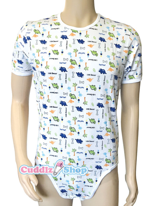 Cuddlz Little Dinosaur Animal Pattern Stretch Cotton onesie for adults ABDL