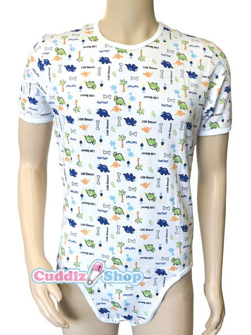 Cuddlz Little Dinosaur Animal Pattern Stretch Cotton onesie for adults ABDL