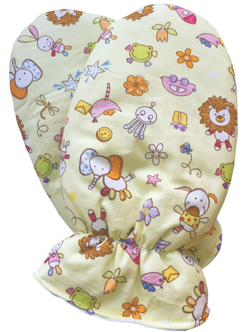 Yellow Toy Pattern ABDL Adult Baby Mittens Padded