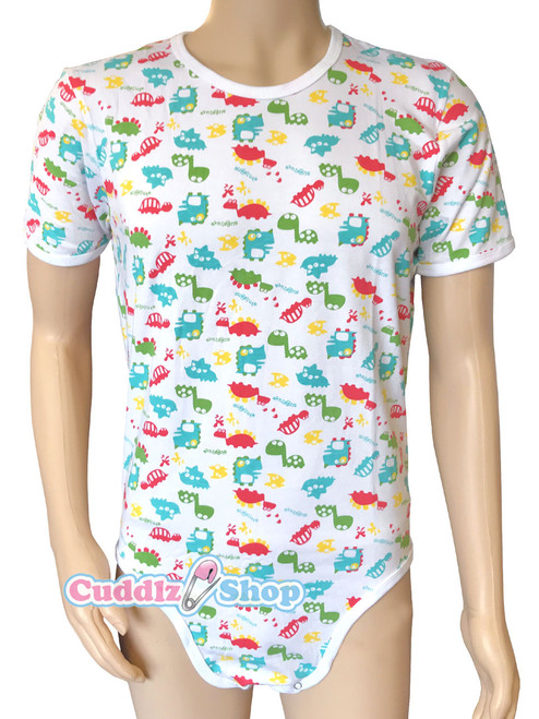 Cuddlz Colourful Dinosaur Pattern Cotton ABDL Body Suit   Adult Baby Onesie 4df4c7003