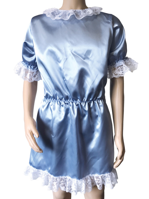 Cuddlz Blue Satin Sissy ABDL Adult Baby Doll Dress For Men or Women Fetish