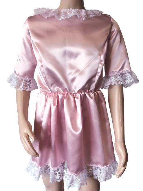 Cuddlz Pink Satin Sissy ABDL Adult Baby Doll Dress For Men or Women Fetish