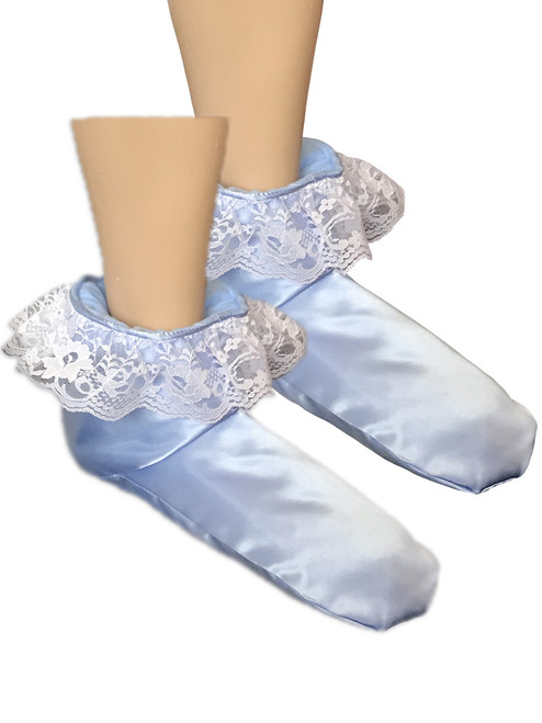 Cuddlz Blue Satin sissy adult baby padded booties fetish matching abdl booties and mittens