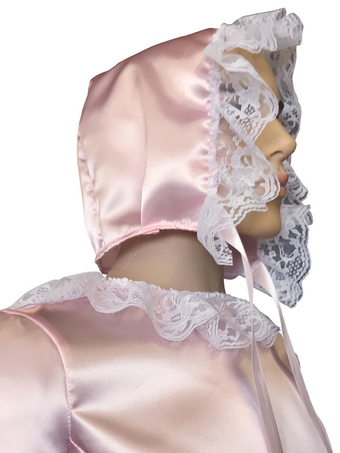 Cuddlz Pink Satin abdl adult baby bonnet with frills and lace with matching mittens, booties and dress