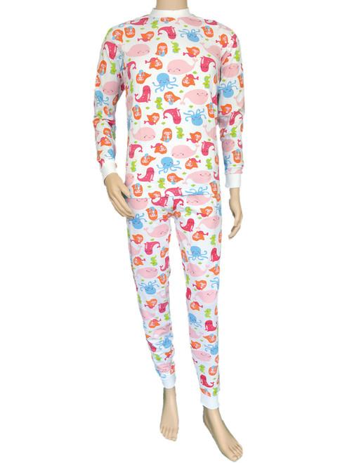 Cuddlz Colourful Sea Creatures ABDL Adult Baby Stretchy Pink Pyjamas