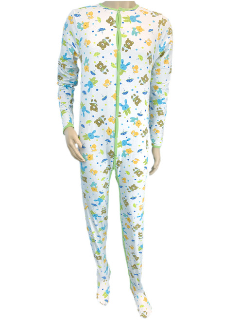 Cuddlz Teddy Pattern adult baby grow sleepsuit romper suit full length onesie for adults abdl fetish