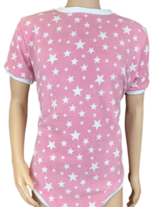 Cuddlz Pink Star Pattern fleece onesie for adults ABDL clothing adult baby diaper lovers