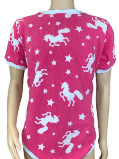 Cuddlz Pink Unicorn Pattern fleece onesie for adults ABDL clothing adult baby diaper lovers