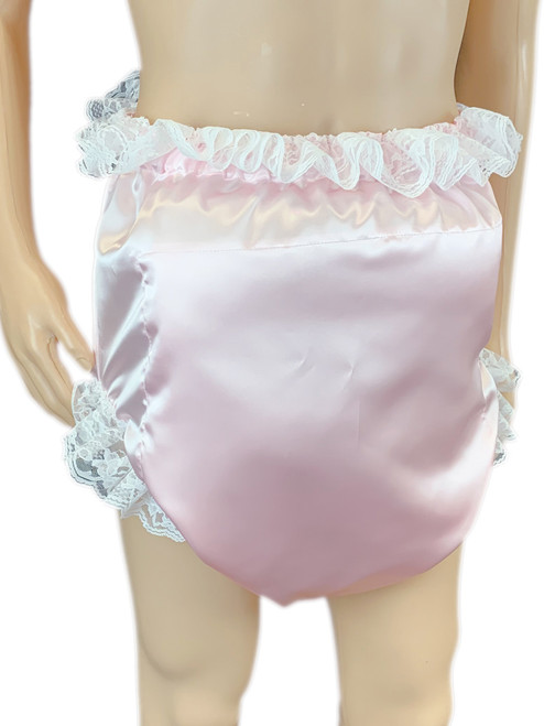 Cuddlz Satin Sissy Blue or Pink ABDL Padded Waddle Pant Adult Baby Leg Spreading Briefs Fetish