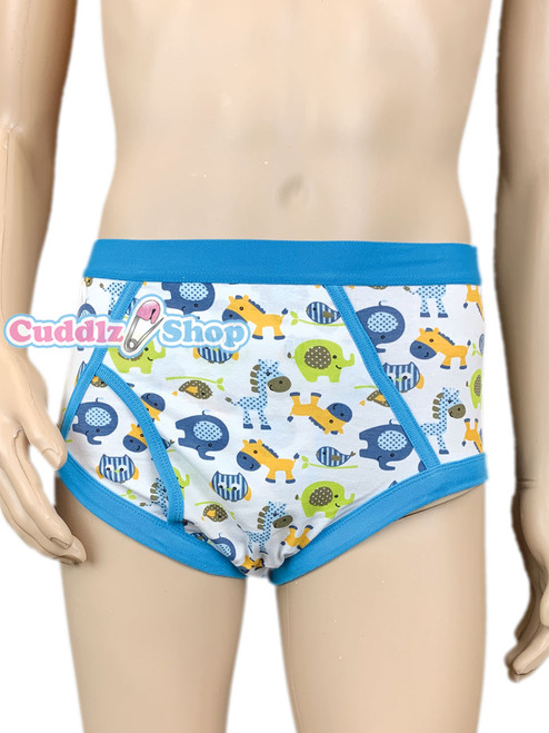 Cuddlz blue colourful animal pattern adult sized mens cartoon underpants briefs y-fronts