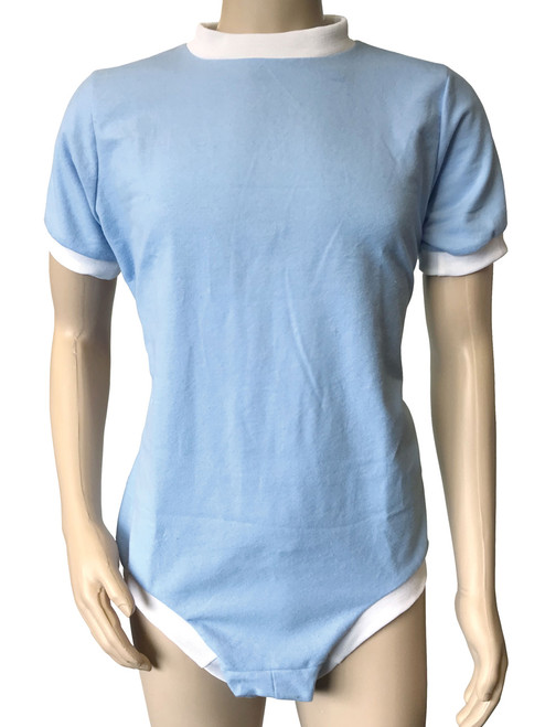 Cuddlz Baby Blue Brushed Cotton Wincyette zipped onesie for adults with locking lockable zip option ABDL romper sleepsuit adult baby fetish