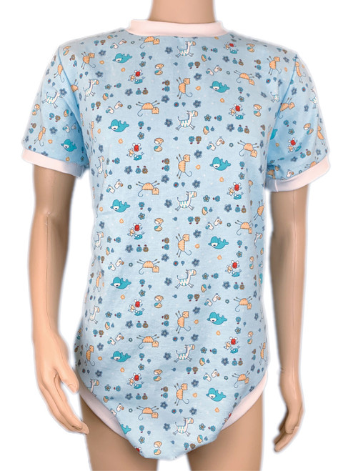 Cuddlz Cute Blue Creatures Pattern Brushed Cotton Wincyette short zip fastening onesie for adults with locking zip option ABDL clothing adult baby diaper lovers Lockable Romper Sleepsuit
