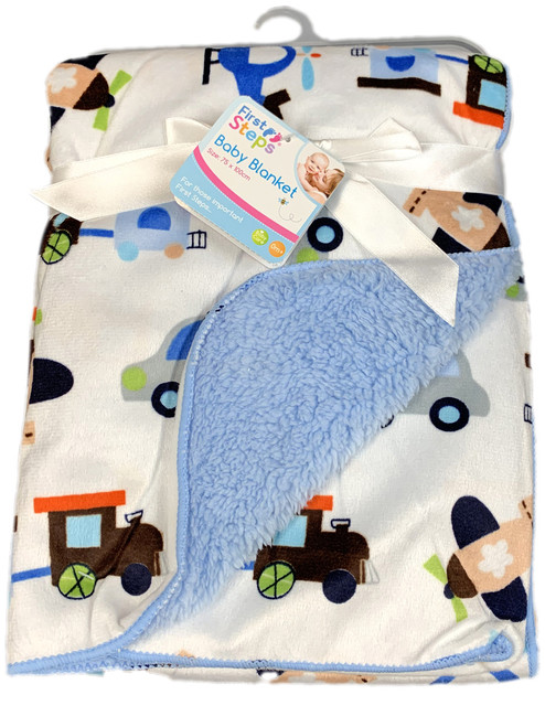 First Steps Soft Snuggly Baby Comfort Blanket In a Choice of Blue or Pink ABDL
