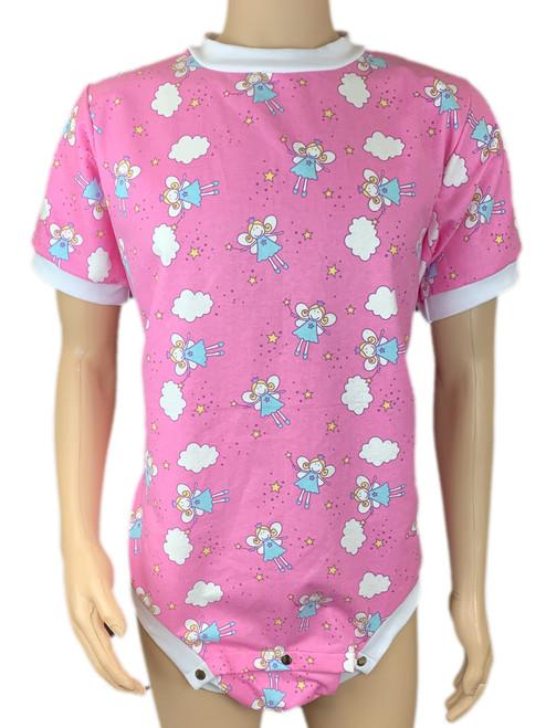 Cuddlz Pink Fairy Pattern Brushed Cotton Adult Short Onesie