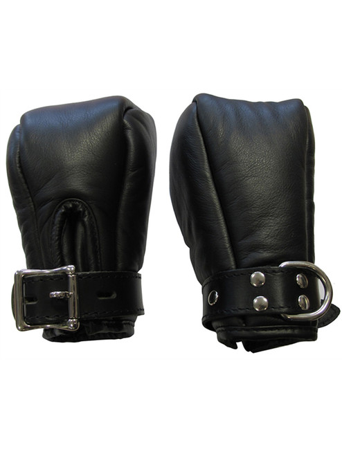 Mister B Premium Leather Bondage Fist Mitts Fetish Pup Play BDSM Bondage ABDL Adult Locking Mittens