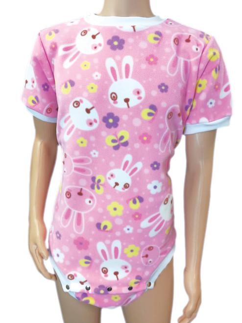 Cuddlz Pink Bunny Pattern fleece onesie for adults ABDL clothing adult short onesies baby diaper lovers - Cuddlz.com