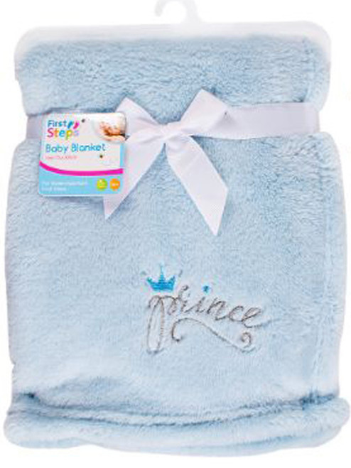 First Steps Soft Snuggly Baby Comfort Blanket In a Choice of Prince Blue or Princess Pink ABDL