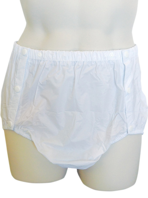 Cuddlz white side snap on plastic incontinence pants for adults