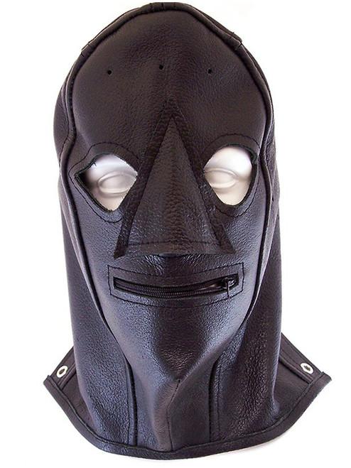 Rouge Black Leather Mouth Zip Mask / Hood Zipped BDSM Bondage Gimp Slave ABDL