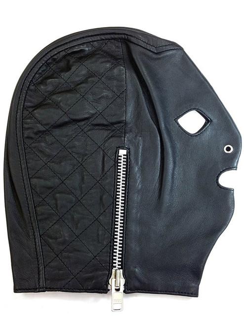 Rouge Leather Full Face Mask / Hood With Side Fastening Zip BDSM Gimp Bondage Slave Black Or Red ABDL