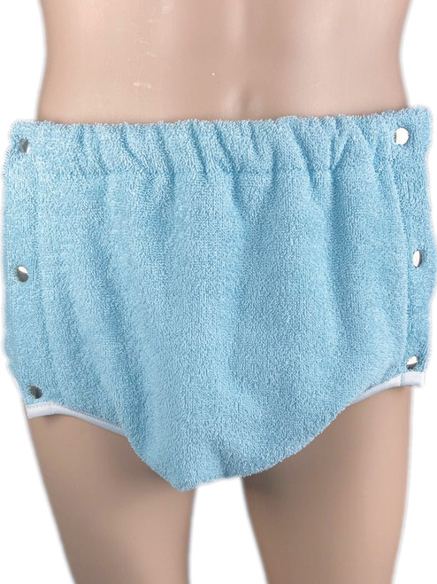 Cuddlz Side Fastening Baby Blue Terry Towelling Adult Incontinence Brief Pants Single Thickness ABDL Washable Nappy Nappies Diaper