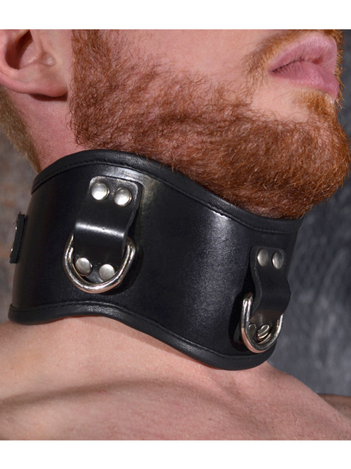 Rouge Padded Posture neck brace collar with 3 d rings for Bondage bdsm slave gimp puppy pony play